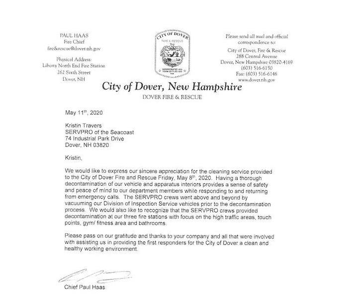 Letter from Dover Fire Chief thanking SERVPRO for cleaning and disinfecting vehicles