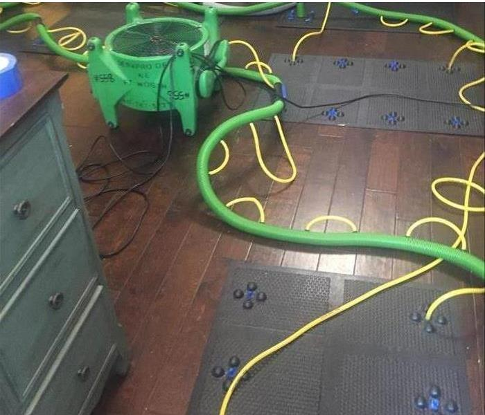 DRYING MATS ON HARDWOOD FLOOR GREEN AIR MOVER