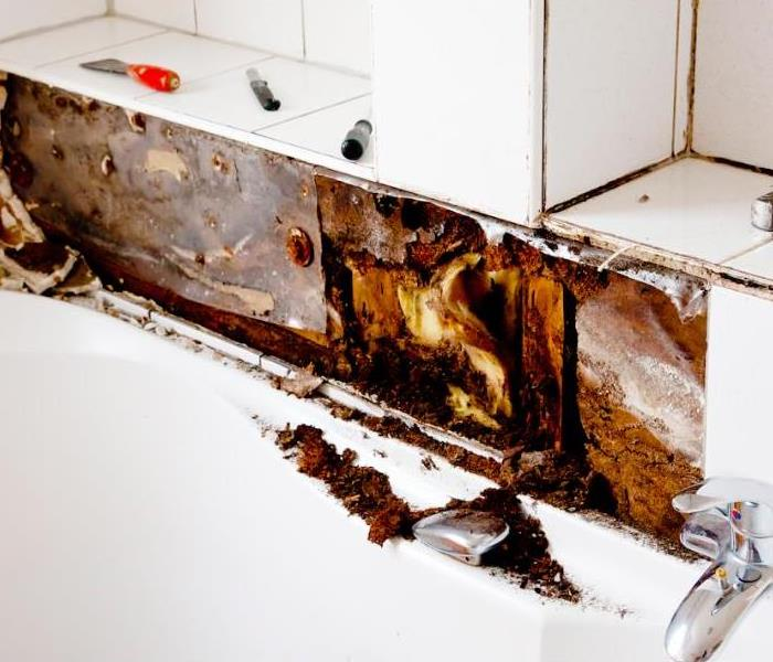 water damage in the bathroom